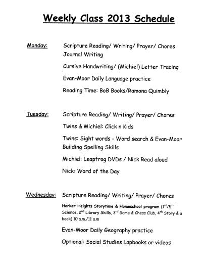 Weekly Class 2013 Schedule A